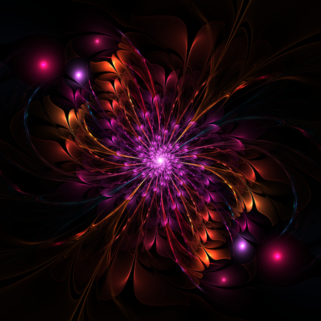 Nice abstract fractal flower on black background photo