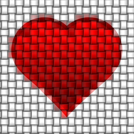 Red heart printed at white intertwined fabric photo