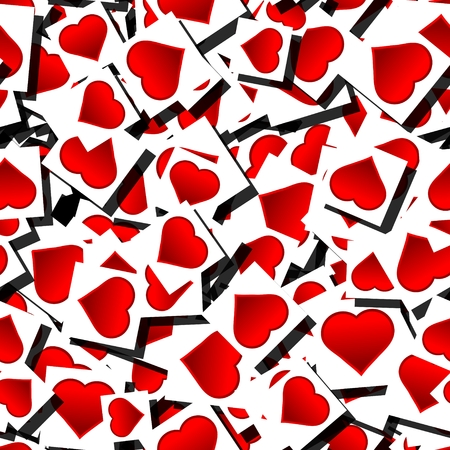 Heart pictures on pile as seamless pattern photo