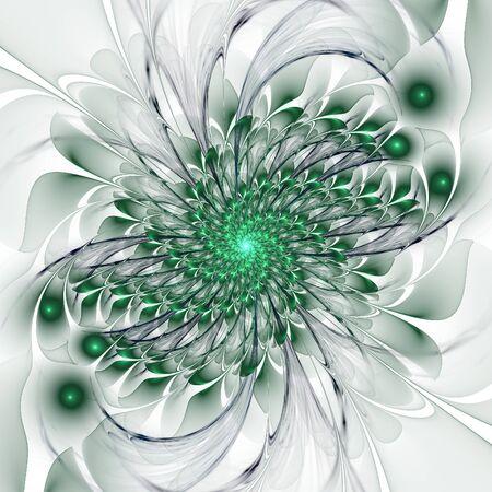 thrive: Abstract greenish flourish spiral on white background