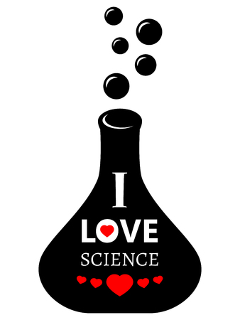 experimenter: Laboratory glass with bubbles and text I love science