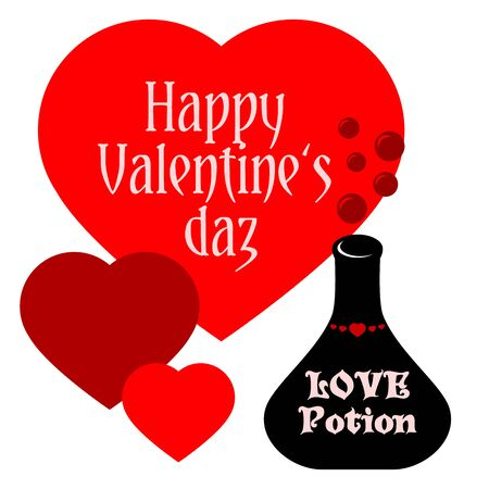 happy valentines: Greeting card Happy Valentines day and flask of potion Illustration