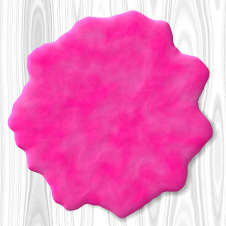 Abstract pink blob on white wooden board photo