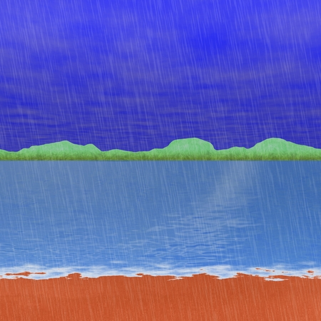 garish: Abstract fantastic landscape at sad rainy day