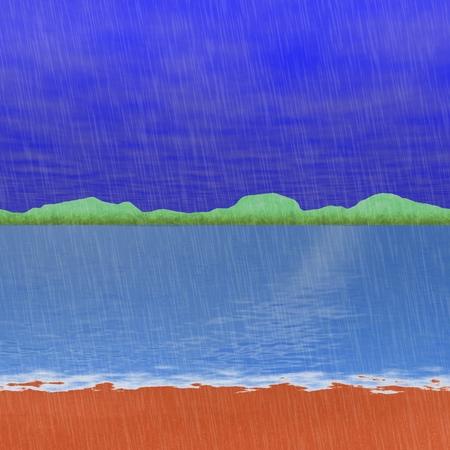 beach side: Abstract fantastic landscape at sad rainy day