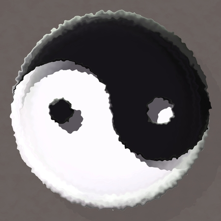 Crazy abstract melted Yin yang symbol as wallpaper