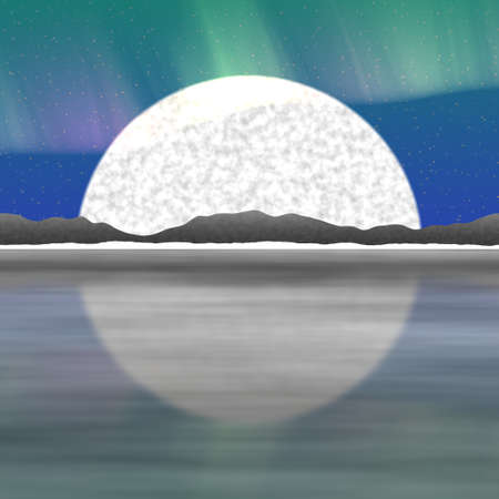 fictitious: Fictitious landscape with big moon and reflections Stock Photo