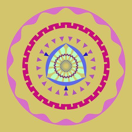 pinkish: Abstract simple mandala wallpaper with concentric circles Stock Photo