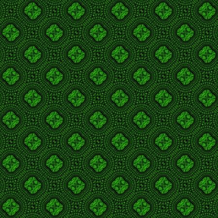 artefact: Seamless pattern with greenish abstract motif like kaleidoscope Stock Photo
