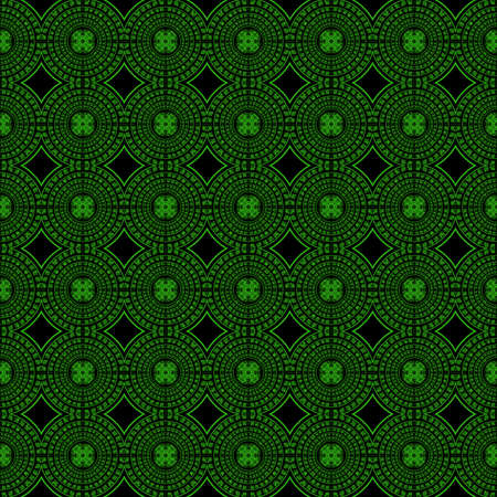 greenish: Seamless pattern with greenish abstract motif like kaleidoscope Stock Photo