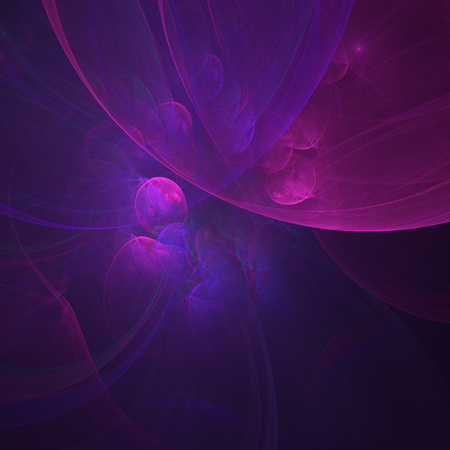 poetical: Mauve abstract fractal bubbles on black background