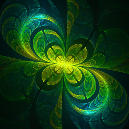 thrive: Beautiful floral abstract fractal on black background