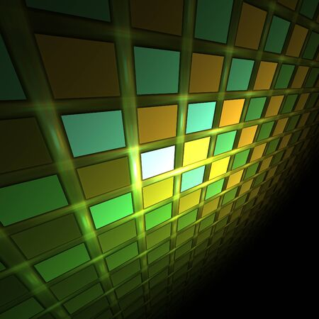 the greenish: Abstract greenish fractal wall in deep darkness Stock Photo