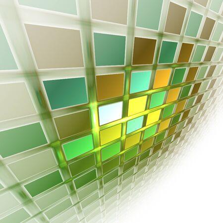 greenish: Funny abstract fractal greenish wall in nothingness Stock Photo