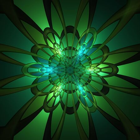 psy: Abstract green fractal ornament on black background Stock Photo