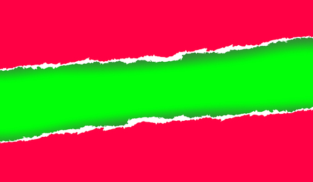 raggedy: Ripped paper in green and reddish colors