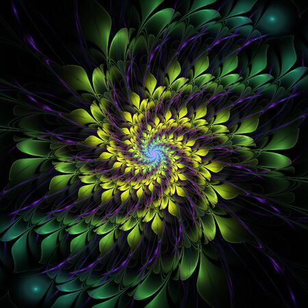 greenish: Nice abstract floral spiral on black background