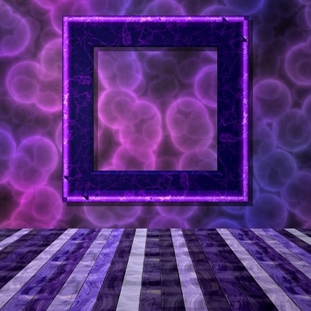 hollow walls: Violet room with violet frame and crazy wall
