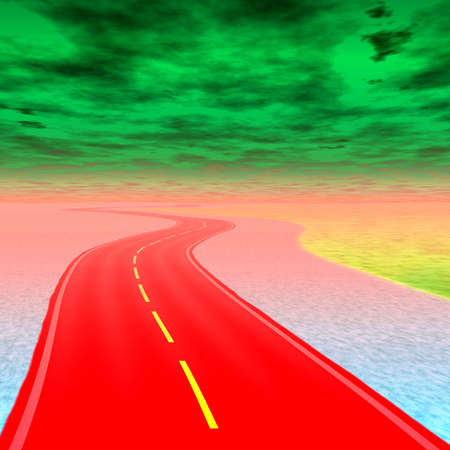 delirium: Crazy abstract colorful road to hell with green clouds
