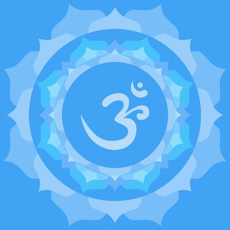 vedic: Om or Aum symbol in mandala made from petals