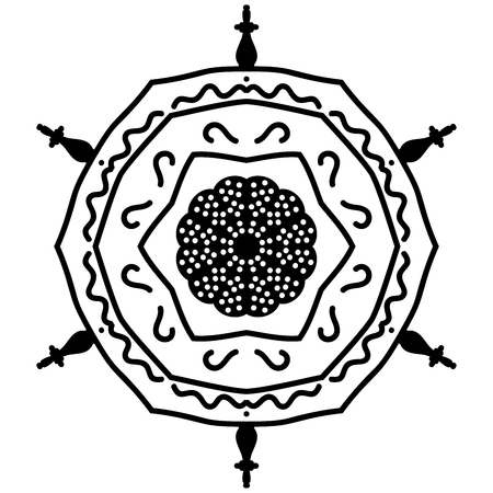 absurd: Abstract mandala in black and white colors Illustration
