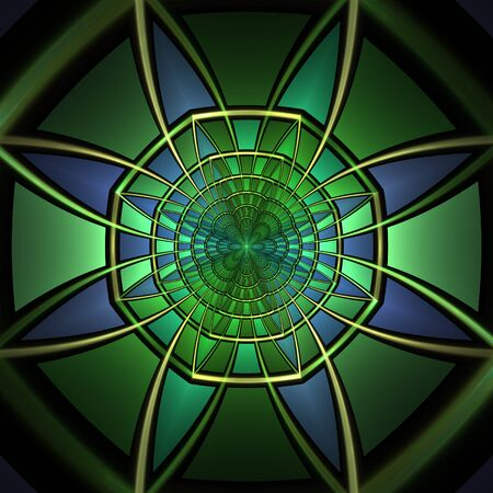 hallucinatory: Abstract green fractal shapes on black background Stock Photo