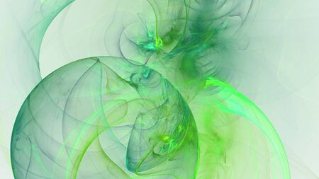 hallucinatory: Abstract green fractal shapes on white background Stock Photo