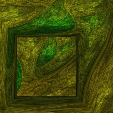 hallucinatory: Abstract surreal fractal shapes on black background Stock Photo