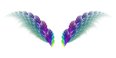 surreal: Abstract surreal fractal wings on white background