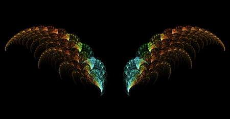 dreamlike: Abstract surreal fractal wings on black background Stock Photo