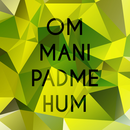 hum: Phrase om mani padme hum which means Praise to the Jewel in the Lotus. Illustration