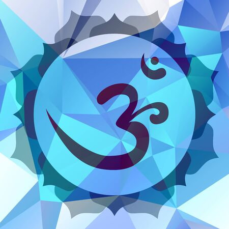 syllable: Om or Aum symbol in mandala made from petals