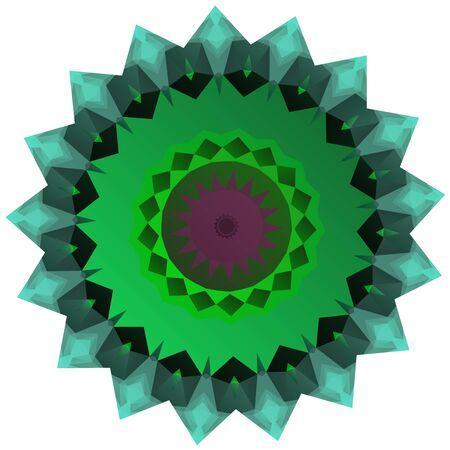 greenish: Nice symmetrical mandala isolated on white background