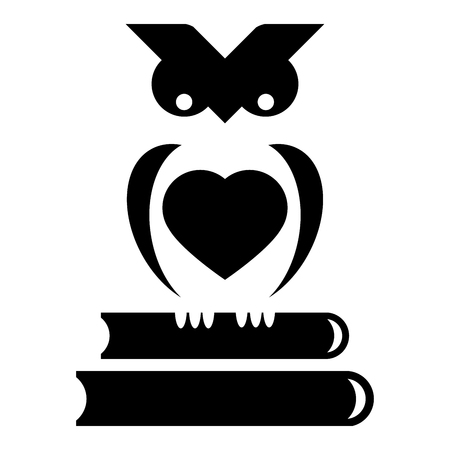 sits: Cute little owl sits on stack of books Illustration