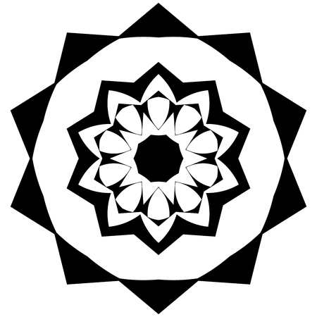 garnish: Small mandala with black and white colors Illustration