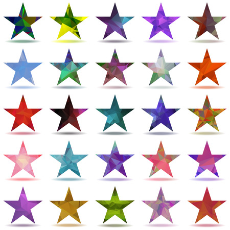 crinkle: Set of abstract stars with triangular pattern Illustration