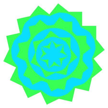 mandala: Greenish small mandala located on white background