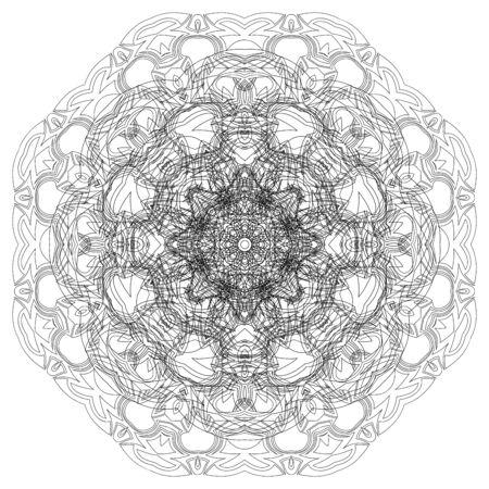 phantasy: Black symmetric mandala isolated on white background Illustration