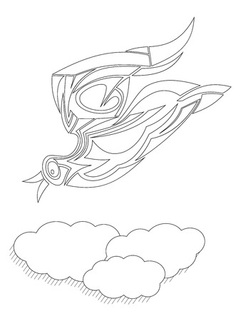 disengagement: Tribal bird with clouds like a adult coloring page Illustration