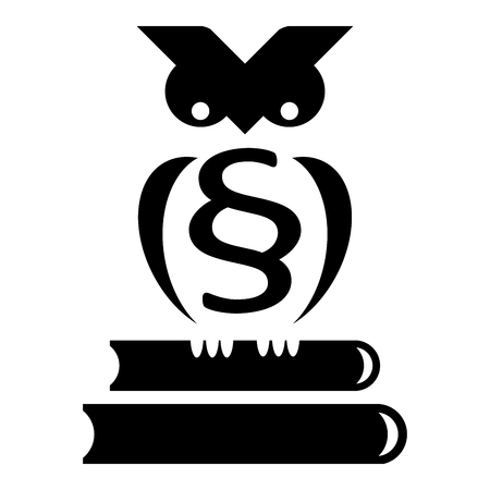 Owl sits on stack of books with paragraph on his chest