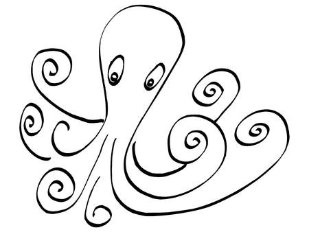 Octopus of black ink. Isolated on white background