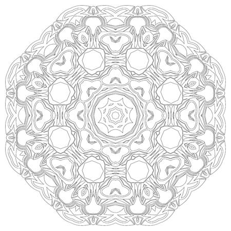 symmetric: Black symmetric mandala like a adult coloring page Illustration