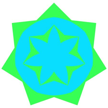 greenish blue: Greenish small mandala located on white background