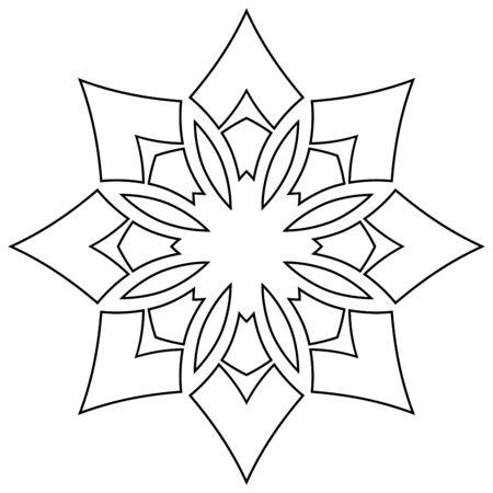 symmetric: Black symmetric mandala isolated on white background Illustration