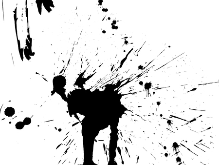 fleck: Splatters by black ink. Isolated on white background