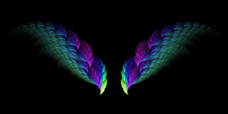 surreal: Abstract surreal fractal wings on black background Stock Photo