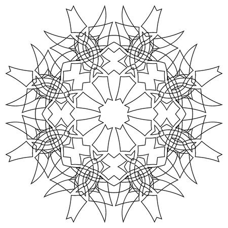 disengagement: Black symmetric mandala isolated on white background Illustration