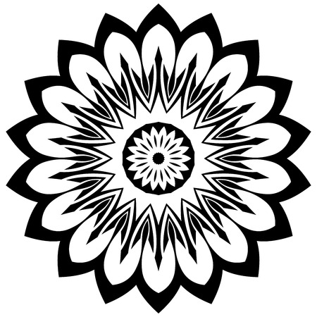 phantasy: Nice floral mandala in black and white colors