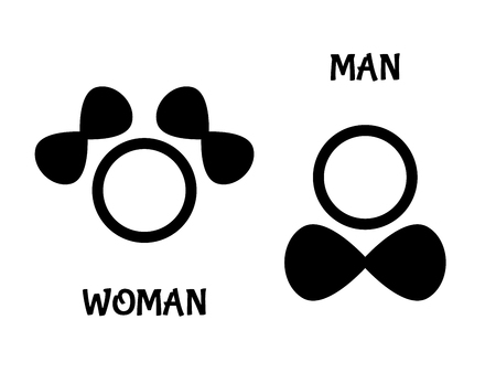 Symbols of she and he with text