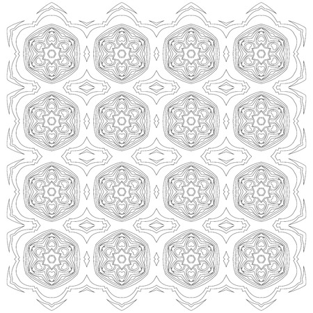 easing: Black symmetric mandala pattern like a adult coloring page
